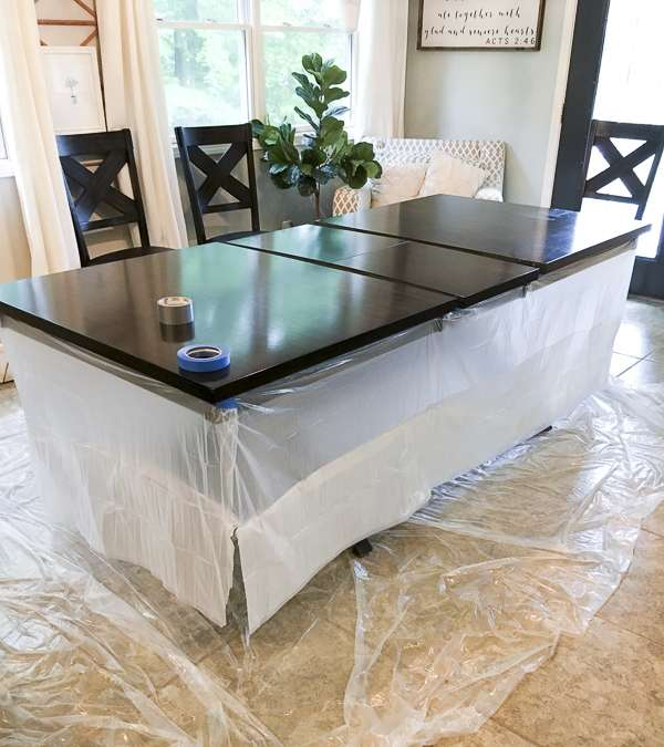 Dining room table before refinishing