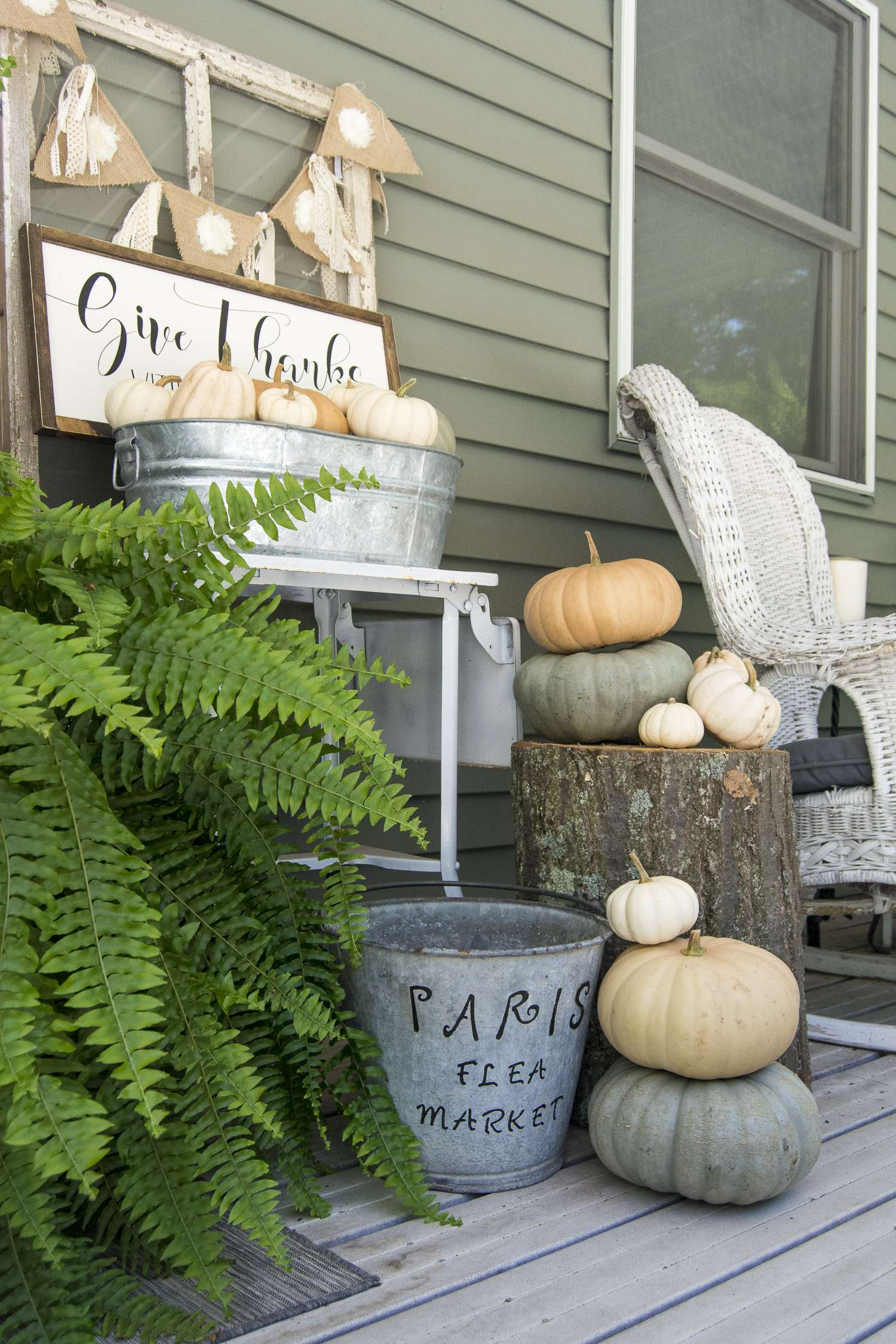 How to style a modern farmhouse fall front porch with minimal decor and lots of nature! Grab your coffee and sit a spell on my fall front porch. | www.graceinmyspace.com