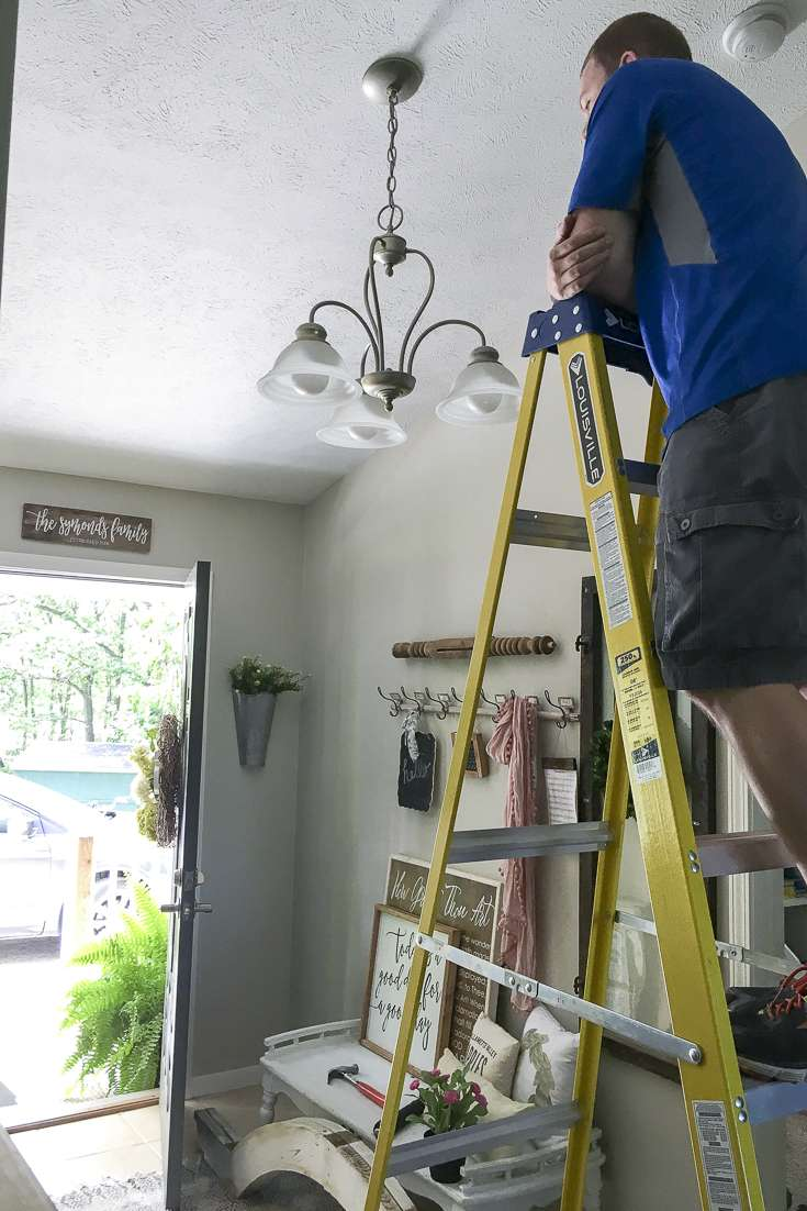 Updating My Entryway with a modern farmhouse chandelier.