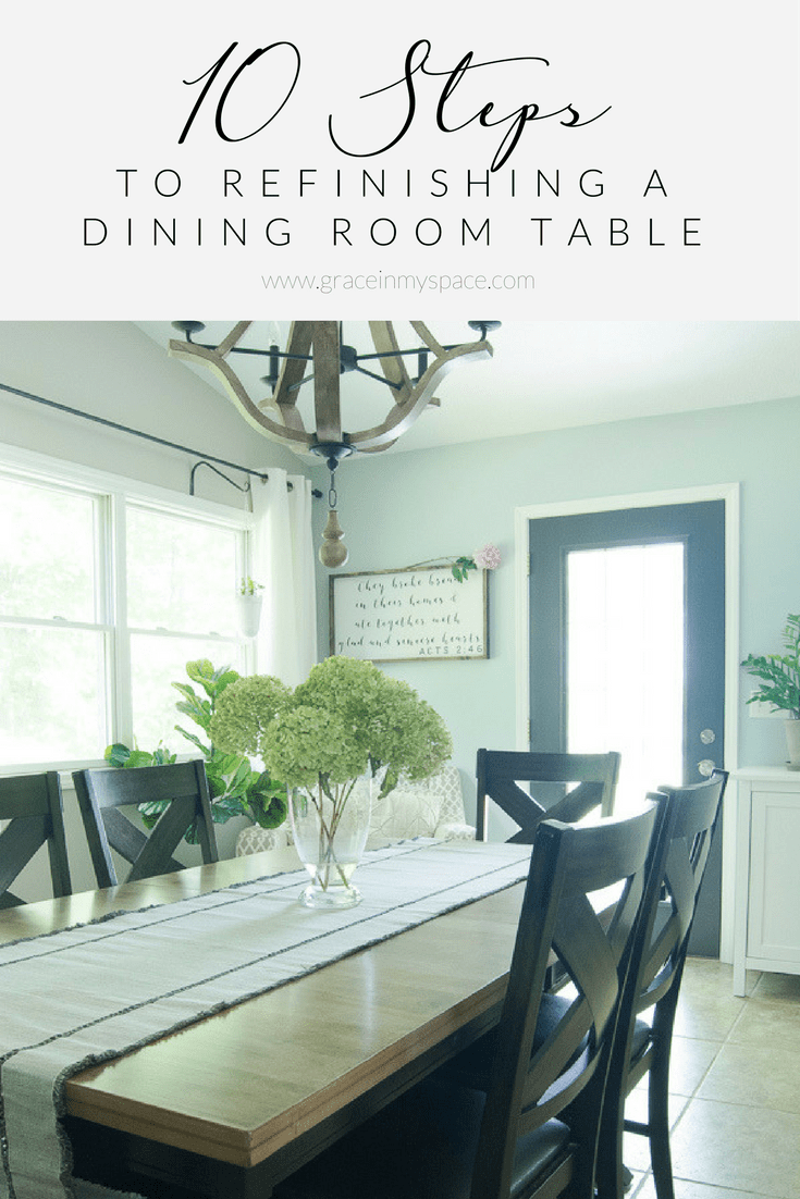 Dining room table reveal grace in my space - Refinish contemporary dining room tables ...