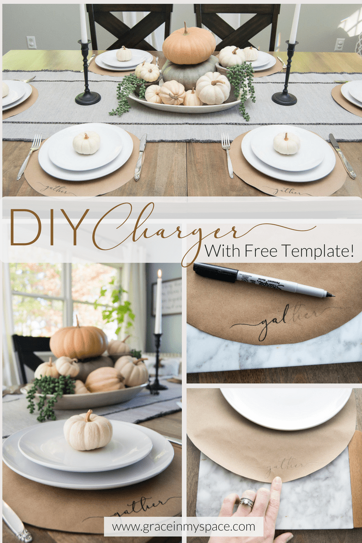 "A DIY Project: Thanksgiving Chargers! Learn how to make these ""Gather"" thanksgiving table setting chargers in 20 minutes and for less than $4."