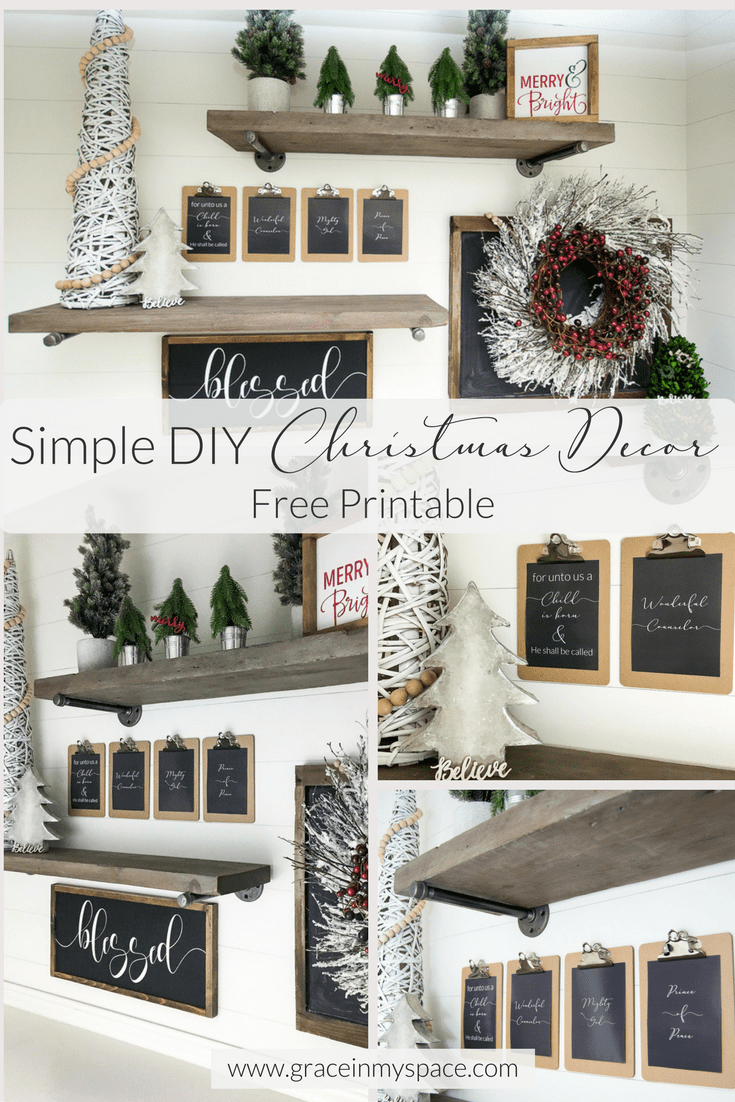 DIY Christmas decor project with free printables! Lavish your loved ones with gifts rather than spending money on Christmas decor with this simple project.