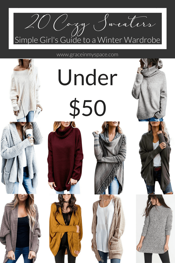 20 cozy sweaters for the simple girl's winter wardrobe. If you're looking for cozy and comfy, then look no further than my collection of cozy sweaters!