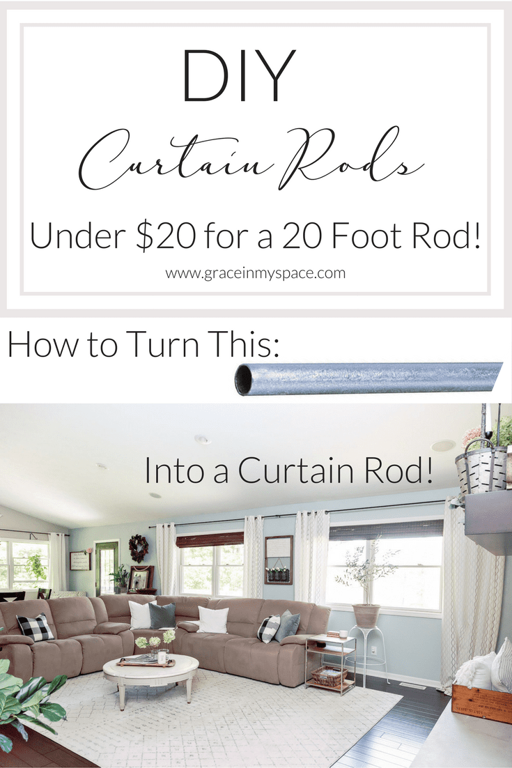 Have you ever balked at the prices of custom curtain rods for large windows? I know I have! So today I've got a super easy and cheap (under $20!) tutorial on how to make DIY Curtain Rods for up to 20 feet of windows!