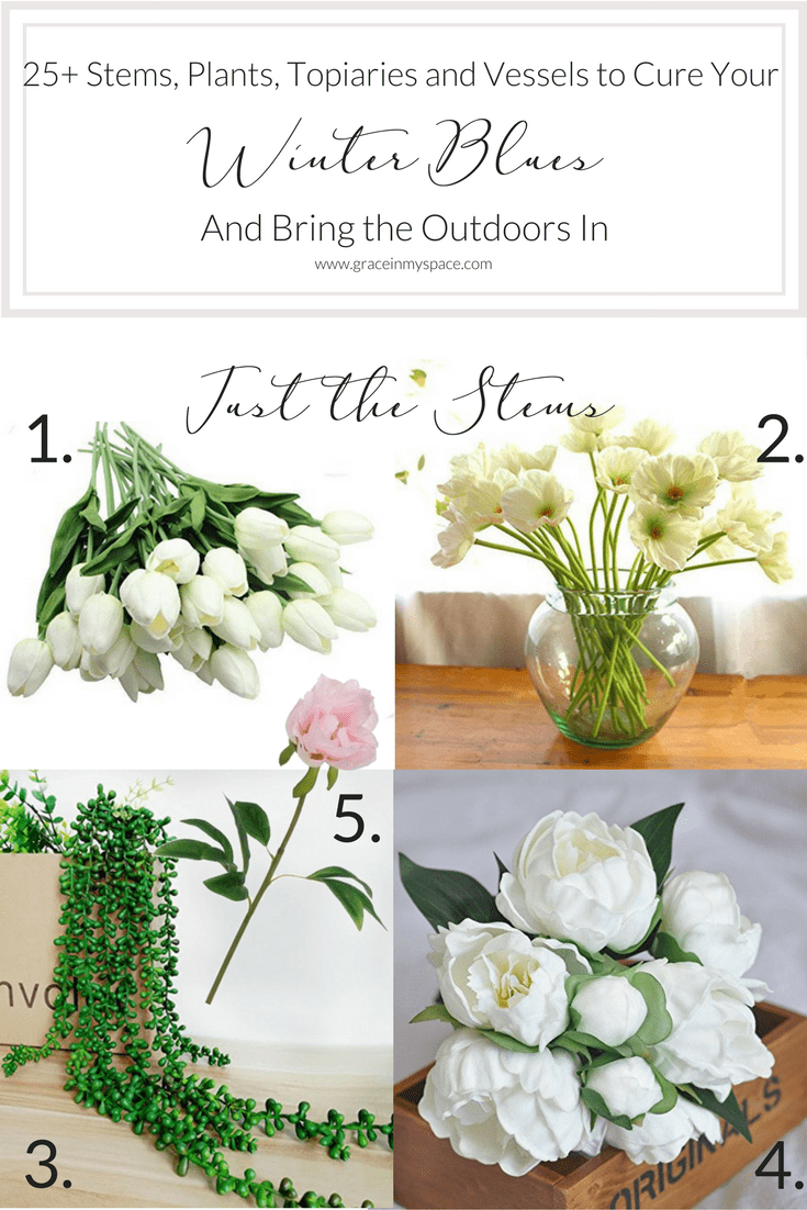 Do you need to bring the outdoors in to beat the winter blues this season? I've gathered 25+ faux stems, plants, topiaries and vessels for you to help bring spring indoors this winter! Fix your winter blues with these no-fuss ways to bring your home to life with plants and florals.