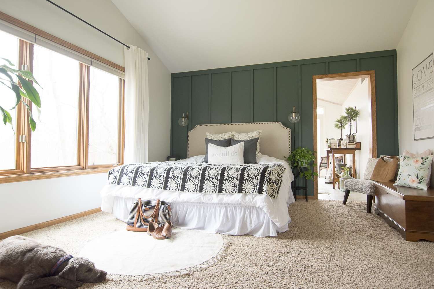 A master bedroom needs to have a few finishing touches to make it a cozy retreat! Today I'm showcasing how just a few additions can turn a bland bedroom into an oasis with modern farmhouse bedroom decor. Head to the blog to read more!
