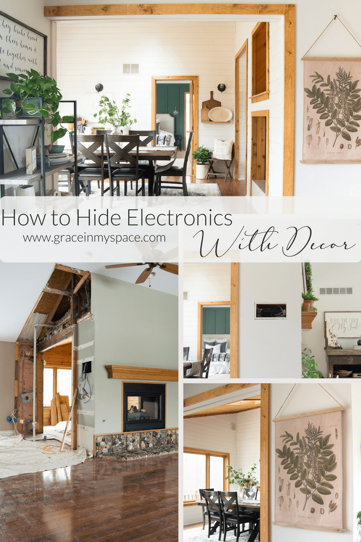 Do you have unsightly electronics in unfortunate places? Moving into our new home I knew I would need to figure out how to hide electronics without relocating them! I'm so happy to share with you how to hide electronics with this simple trick.