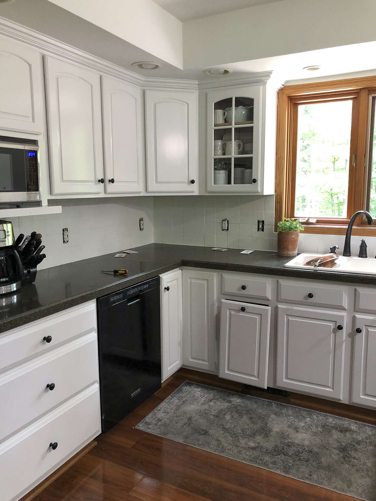 How To Paint A Tile Backsplash Kitchen Renovation Grace In My Space