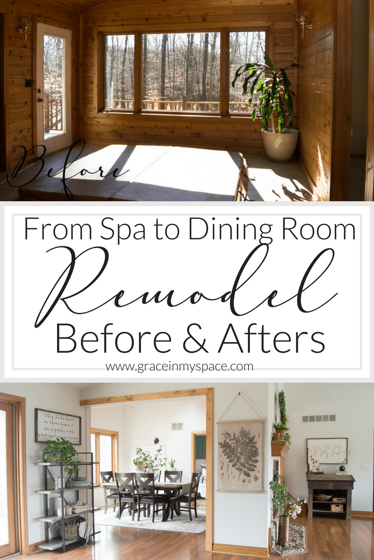 Dining room remodel before and after. How we converted a former indoor spa room to a functional dining space for our family.