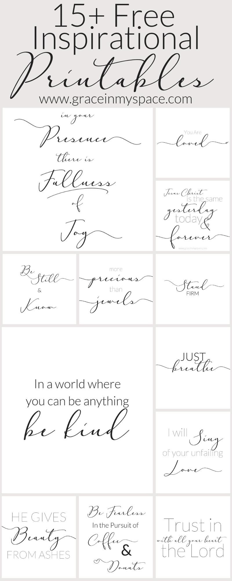 15+ Free Inspirational Printables | www.graceinmyspace.com