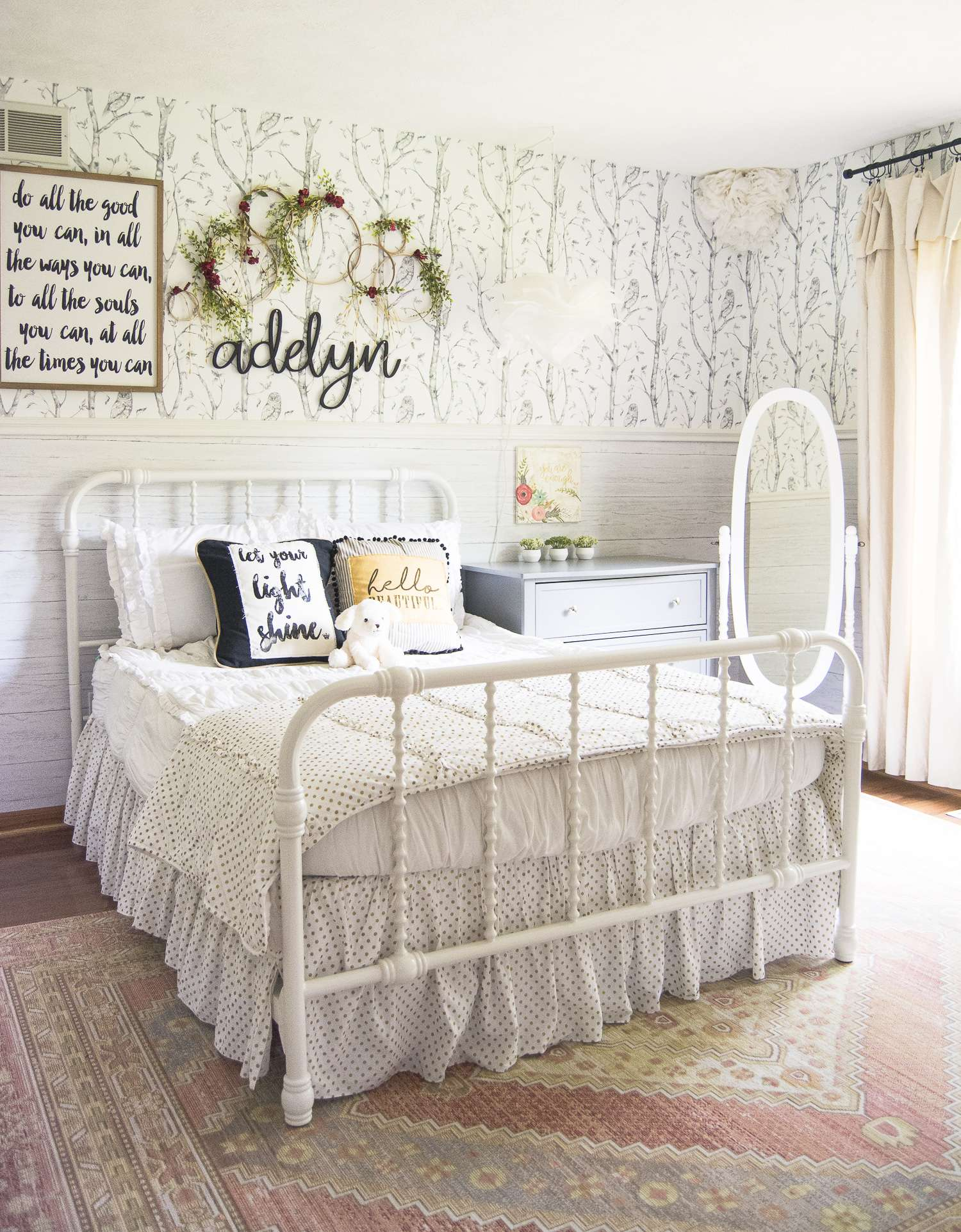 Do you want to create a beautiful girls bedroom for someone special? See how I created structure and playfulness with design in my girls bedroom reveal.
