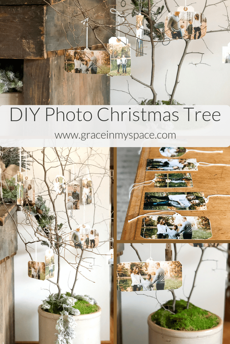 Looking for a new take on the traditional Christmas tree? Make a photo tree to display your favorite memories! Make your own photo Christmas tree with this tutorial. #photochristmastree #christmastree