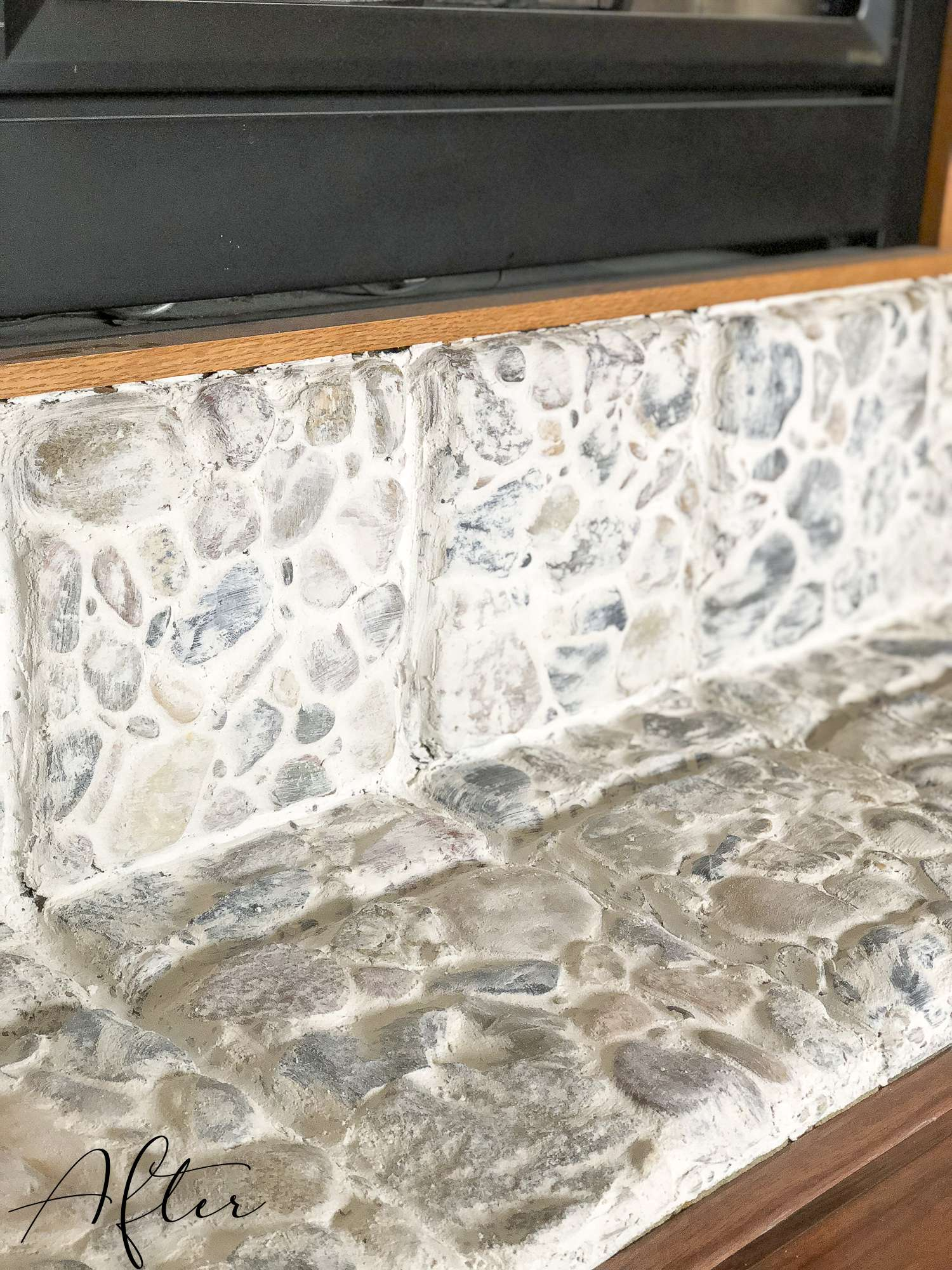 Are you looking for an easy way to update a river rock hearth? Try the german schmear technique to transform outdated rock to beautiful European country style. #germanschmear #fireplace #diyfireplace