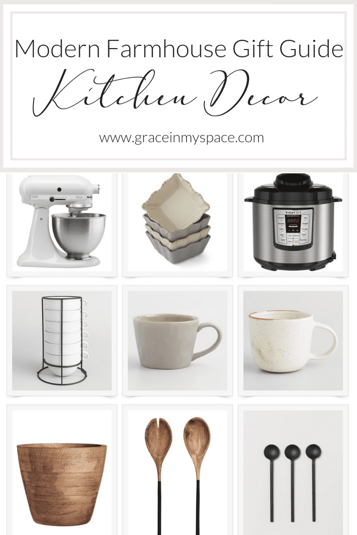 Your modern farmhouse kitchen decor gift guide is right here! These gift ideas are perfect for the baker, chef, and decor enthusiast. #farmhousekitchendecor #modernfarmhouse #giftideas