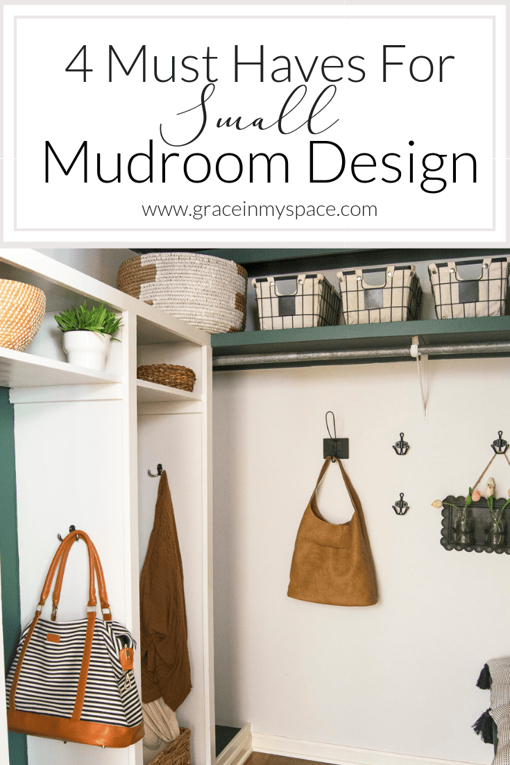 Do you have a small mudroom that's constantly overloaded with clutter? I'm sharing 4 must haves for small mudroom design plans to help you get organized. #fromhousetohaven #mudroomdesign #mudroomdecor