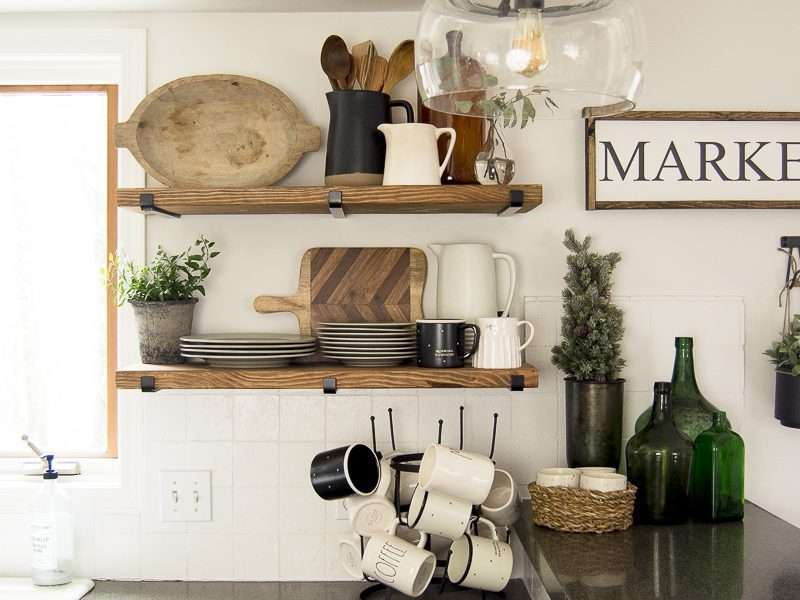 Kitchen Open Shelving | Winter Decor