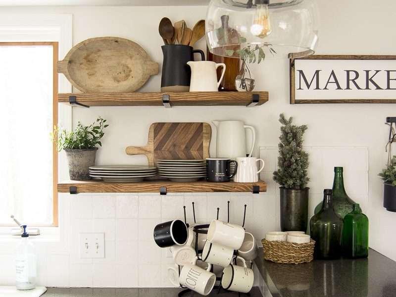 Kitchen Open Shelving | Winter Decor