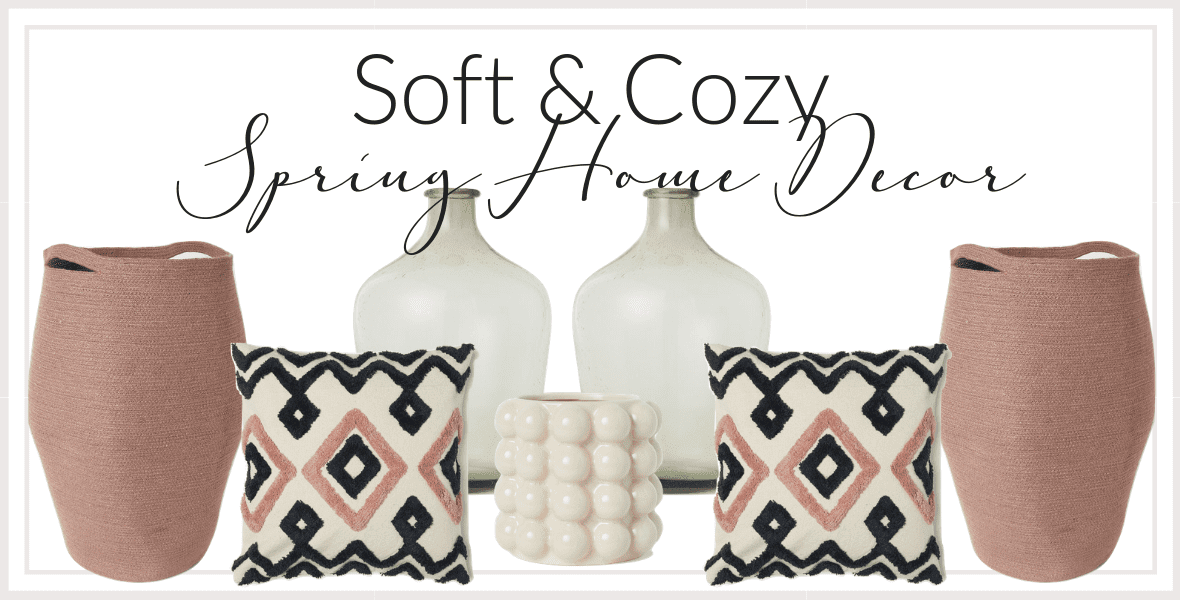 I'm sharing soft & cozy spring home decor ideas that are sure to brighten your day! These pieces will easily transition from late winter into early summer! #fromhousetohaven #springhomedecor #springdecor