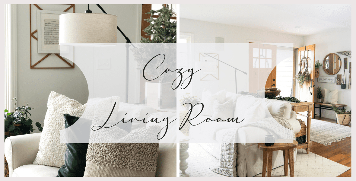 The hygge movement of intentional coziness is in full swing! On the blog I'm sharing cozy living room ideas that you can incorporate on a budget! #fromhousetohaven #cozylivingroom #livingroomideas #hyggehome