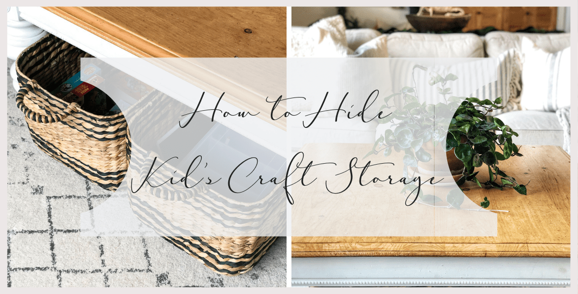 Do your kids love to be part of the action in your living areas? Today I'm sharing 2 simple ways to hide kid's craft storage in plain sight! #fromhousetohaven #craftstorage #toystorage