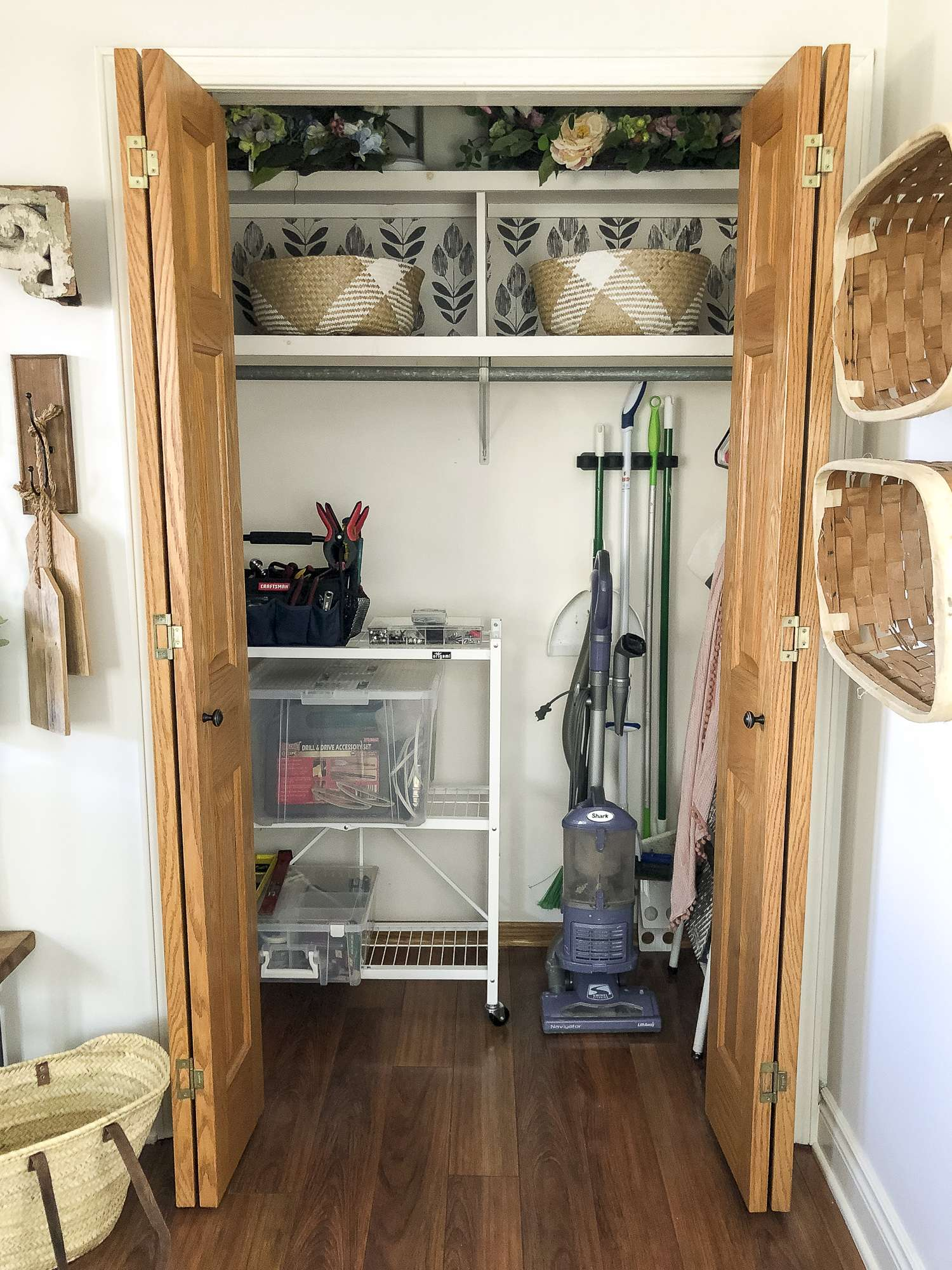 Do you have an awkward and underused entryway closet? Today I'm sharing how I created a dual purpose space with easy utility closet organization tips! #fromhousetohaven #utilitycloset #closetorganization