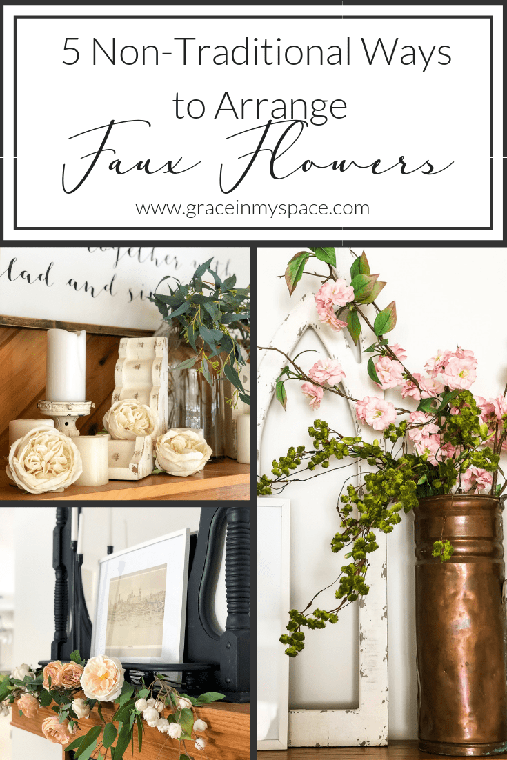 Are you trying to arrange faux flowers without having to stick to the traditional vase arrangement? Read 5 non-traditional ways to arrange faux flowers! #fromhousetohaven #fauxflowers #artificialflowers