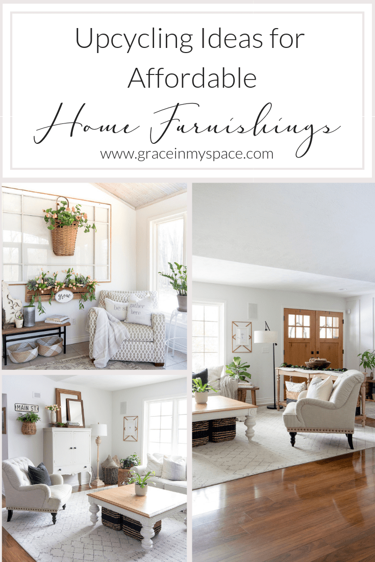 Do you enjoy the concept of reduce, reuse, recycle? Today I'm sharing my favorite clever upcycling ideas for affordable home furnishings! #fromhousetohaven #upcyclingideas #repurposeddecor