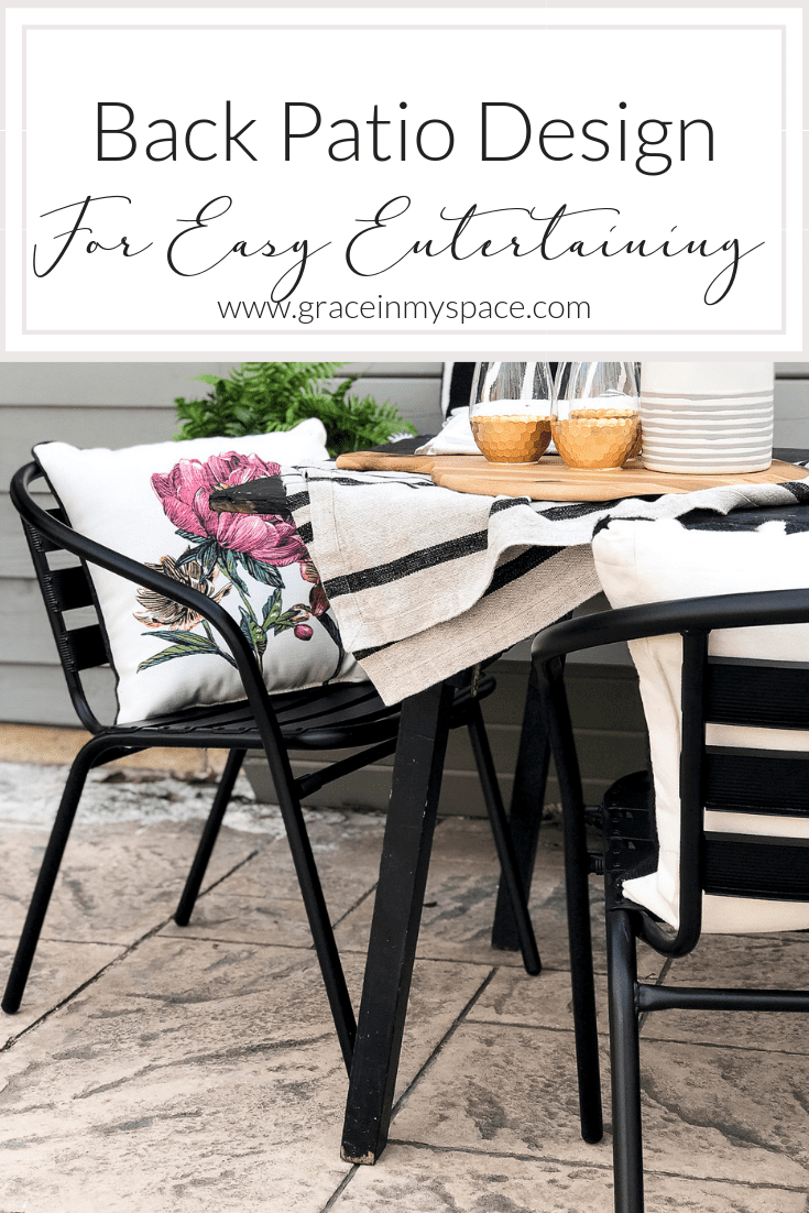 Do you love outdoor entertaining? Today I'm sharing simple ways to style your back patio with durable furniture and effortless decor for easy entertaining. #fromhousetohaven #patiodecor #outdoordining #backpatio