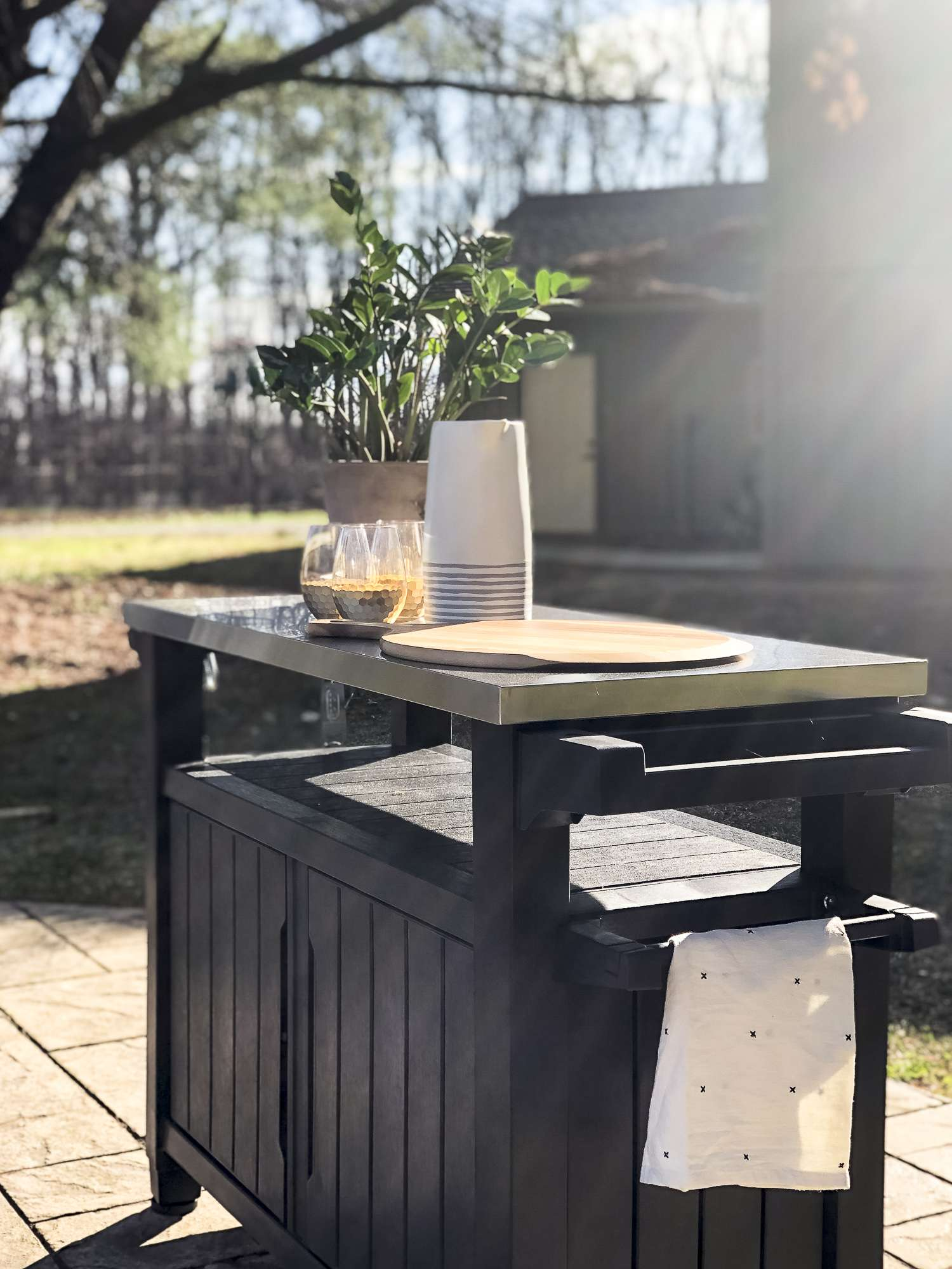 Are you excited for outdoor entertaining? Today I'm sharing my stamped concrete fire pit design plan as I gear up for the warm weather season! #fromhousetohaven #stampedconcrete #patiodesign