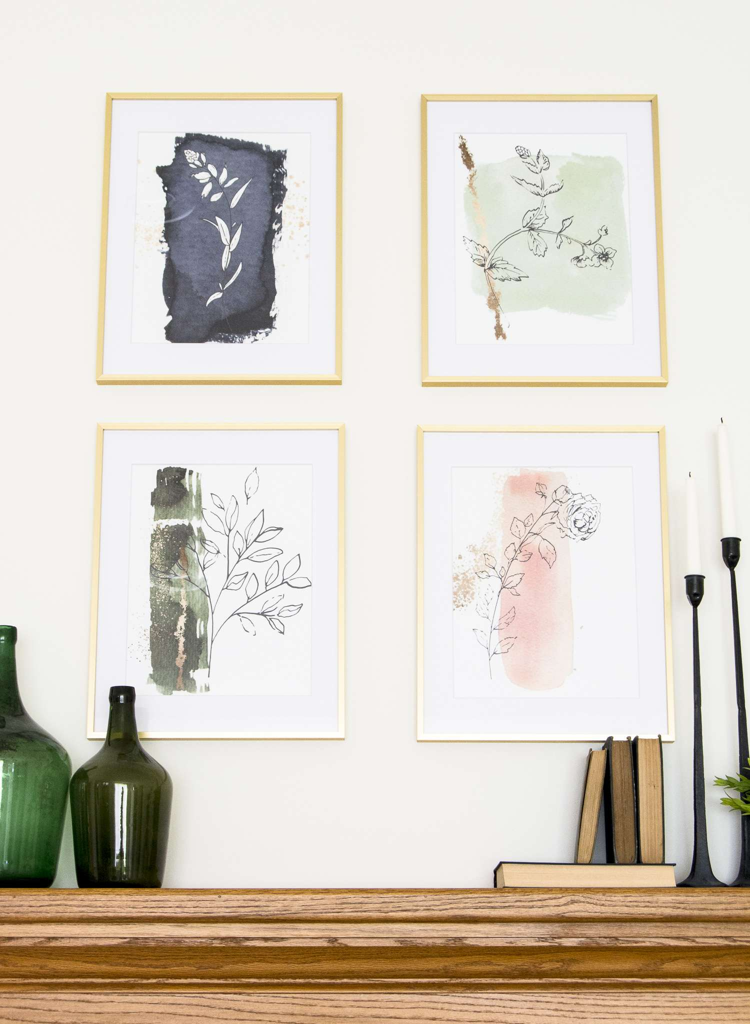 Are you looking for a unique way to add artwork to your home decor? Here is an affordable way you can create your own designs, plus 4 free botanical prints! #freeprints #botanicalartwork #DIYartwork