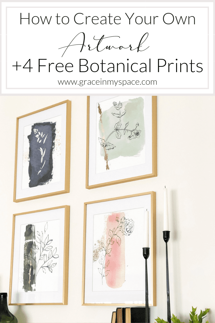 Are you looking for a unique way to add artwork to your home decor? Here is an affordable way you can create your own artwork, plus 4 free botanical prints! #freeprints #botanicalartwork #DIYartwork