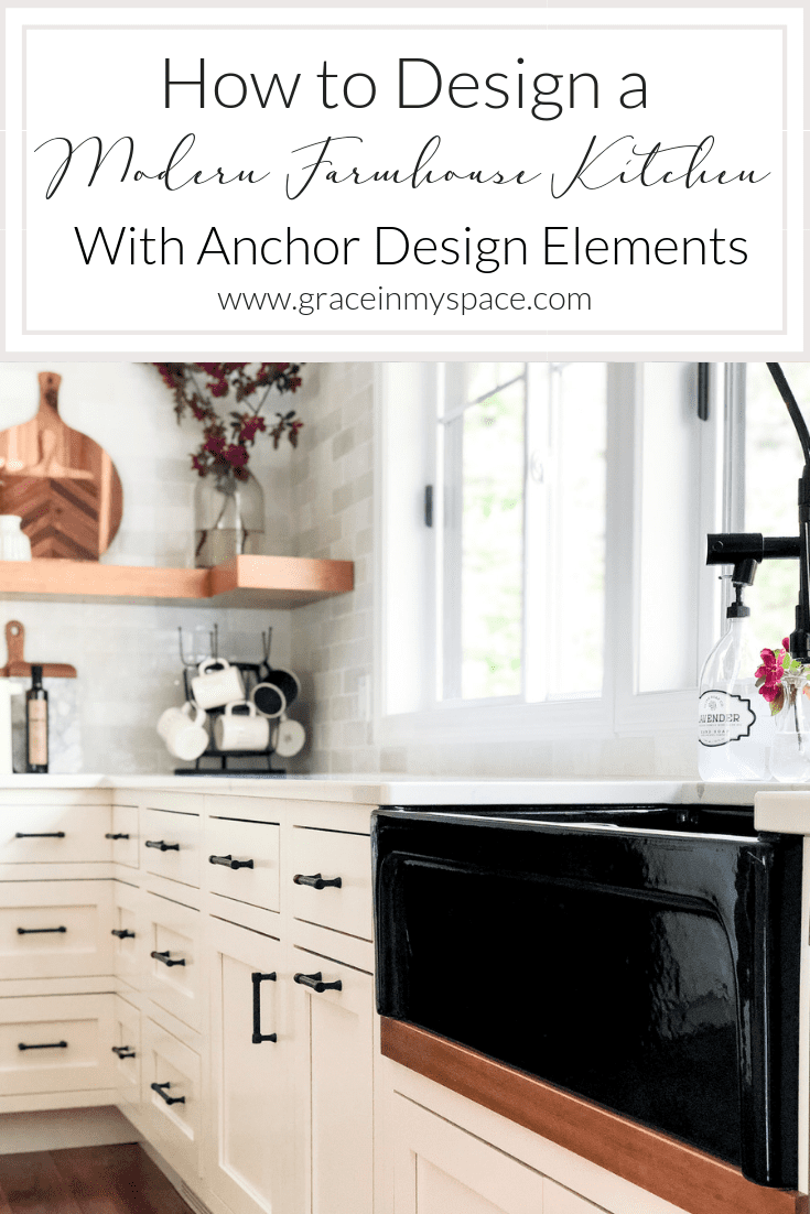 Do you love modern farmhouse style? Here are tips for how to use a black farmhouse sink to anchor your kitchen remodel design. Plus, how to mix finishes! #fromhousetohaven #fireclayfarmhousesink #blacksink