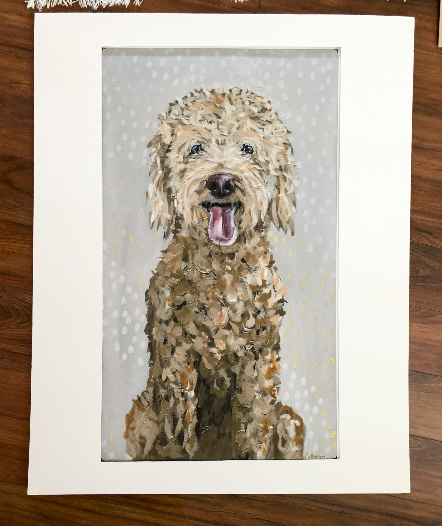 dog artwork with mat