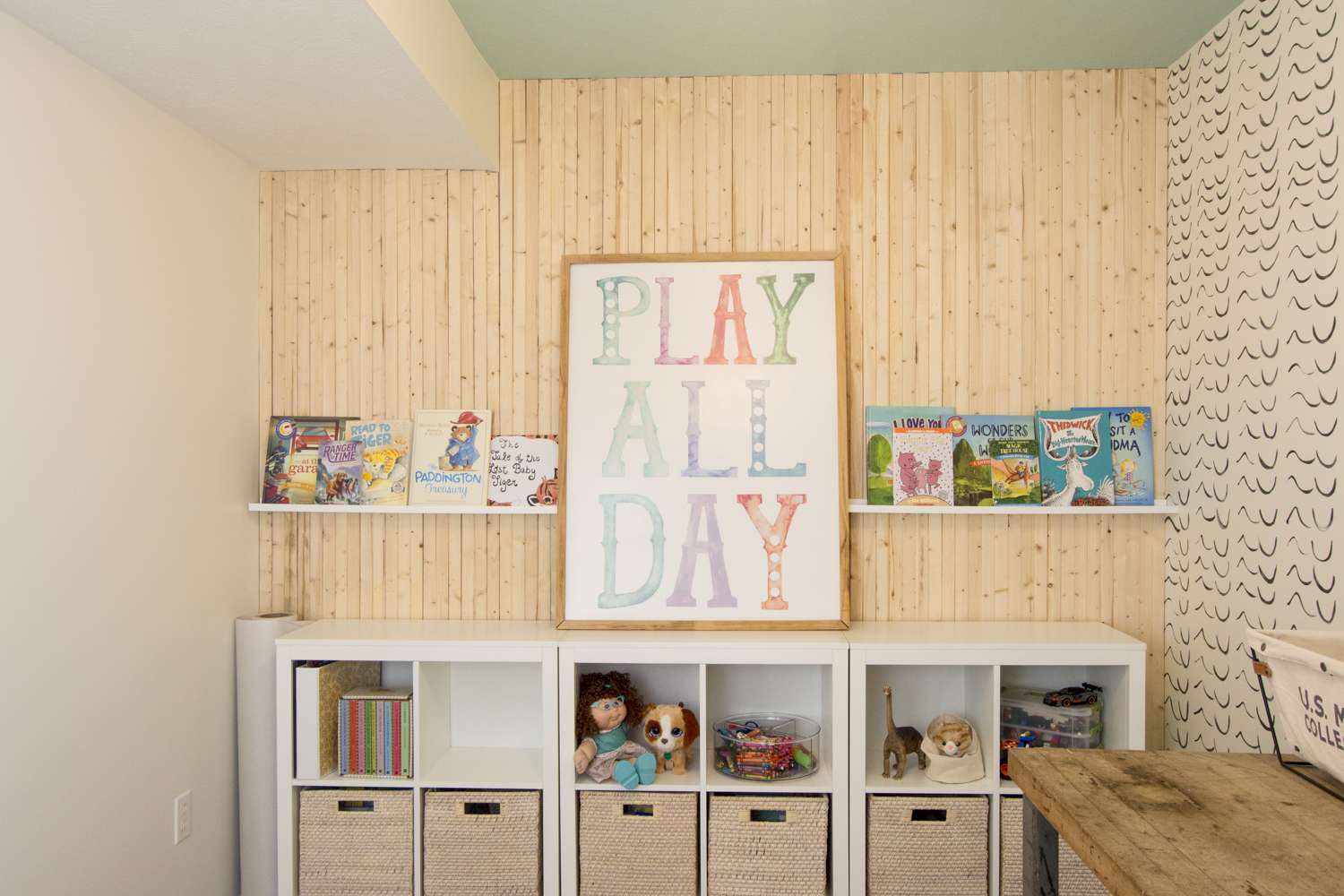Picture ledge wall decor for kid's playroom