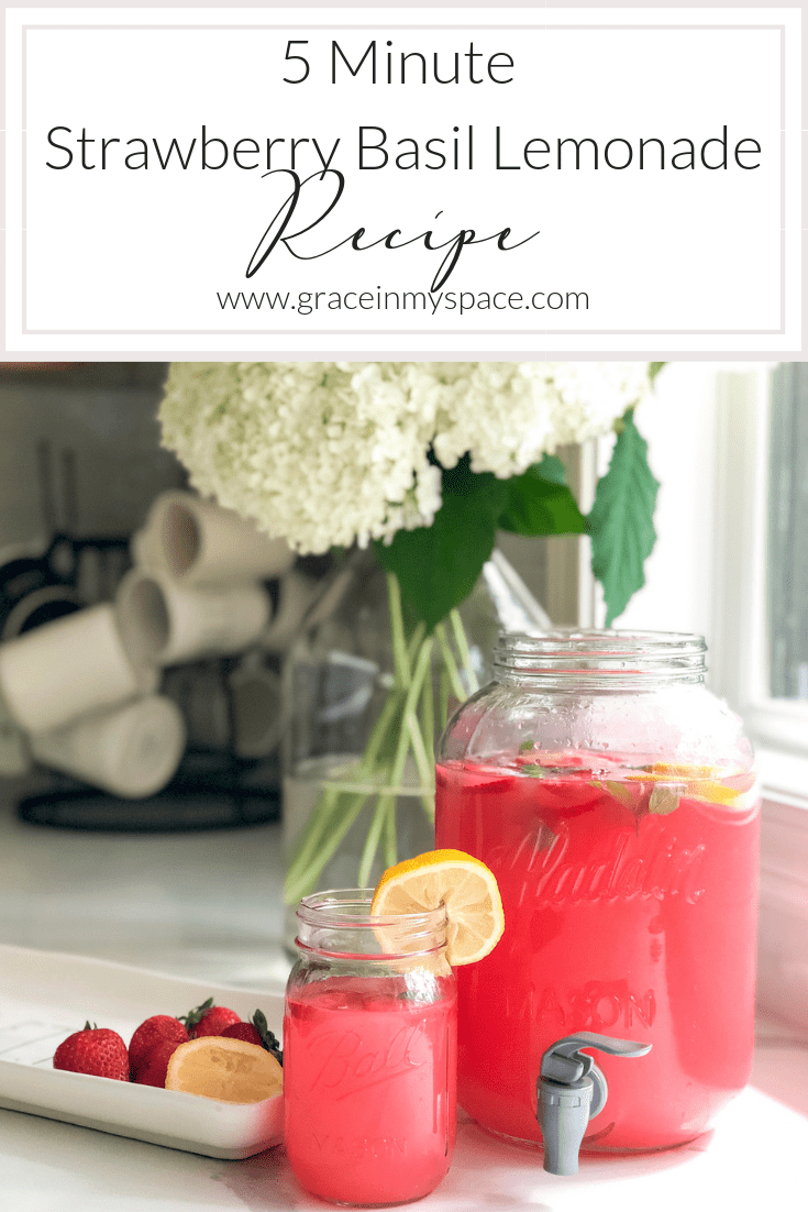 Are you looking for an extremely simple, yet refreshing, beverage for your next party? Whip up this strawberry basil lemonade in minutes! Full recipe here. #fromhousetohaven #drinkrecipe #strawberrylemonade