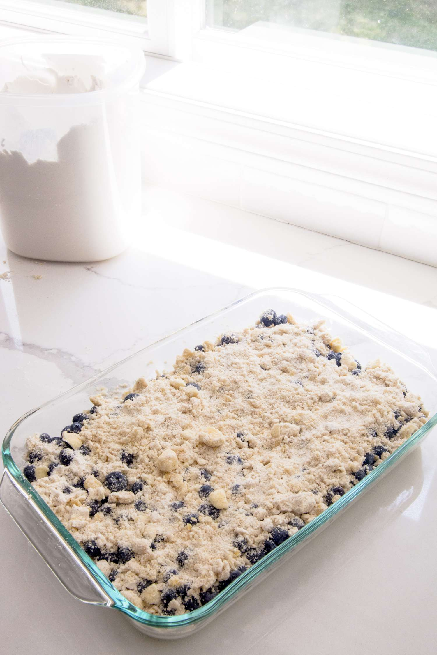 Blueberry Cobbler ready to bake
