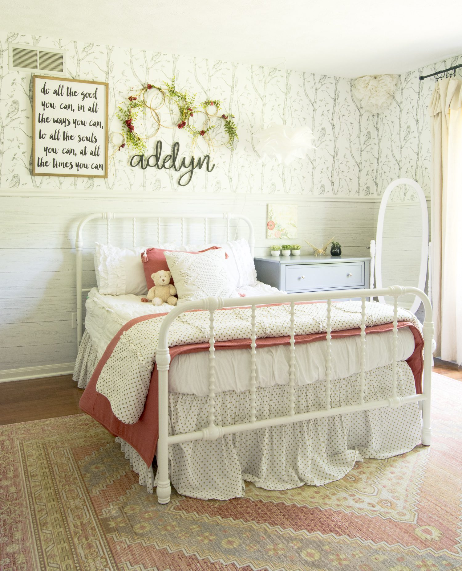 Girls bed frame and bedding