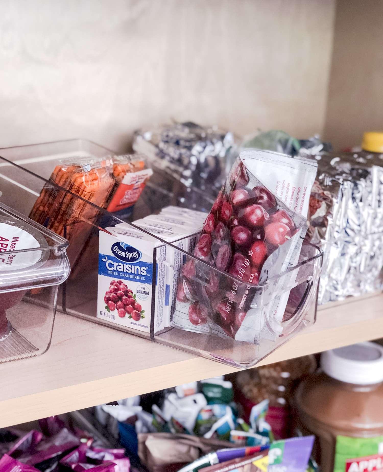 Pantry packet organizing bin