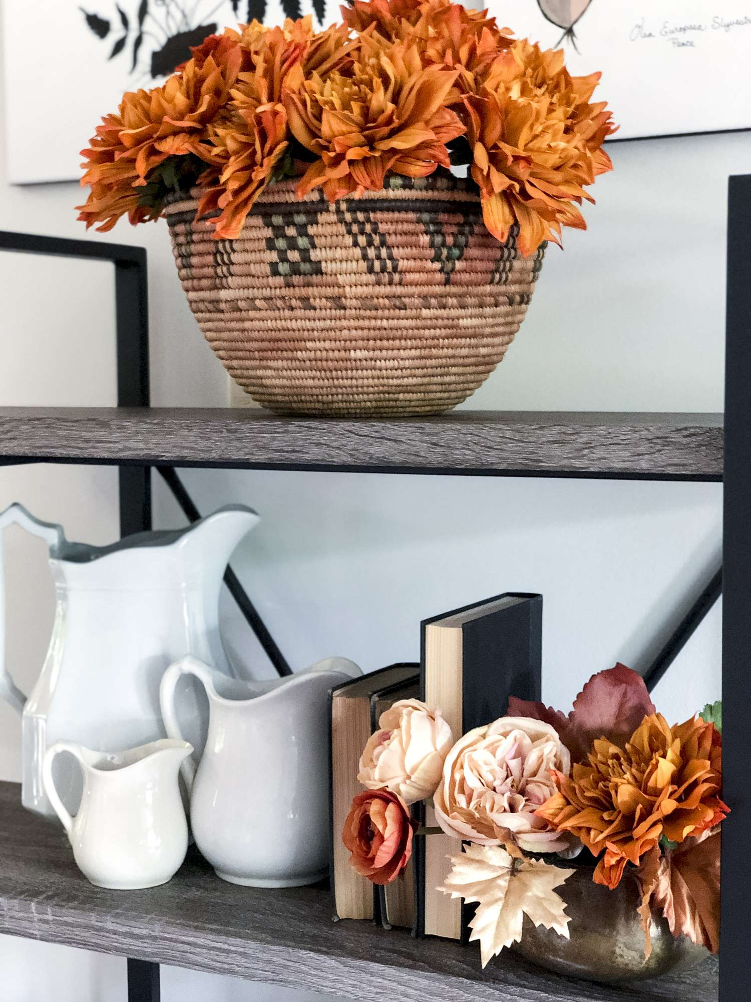 Fall decor shelf styling
