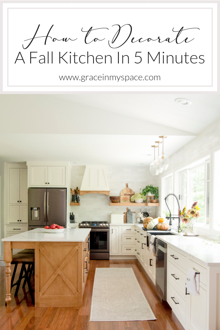 Fall decor in the kitchen should be effortless. Learn how to add fall touches to your farmhouse kitchen decor in 5 minutes or less!
