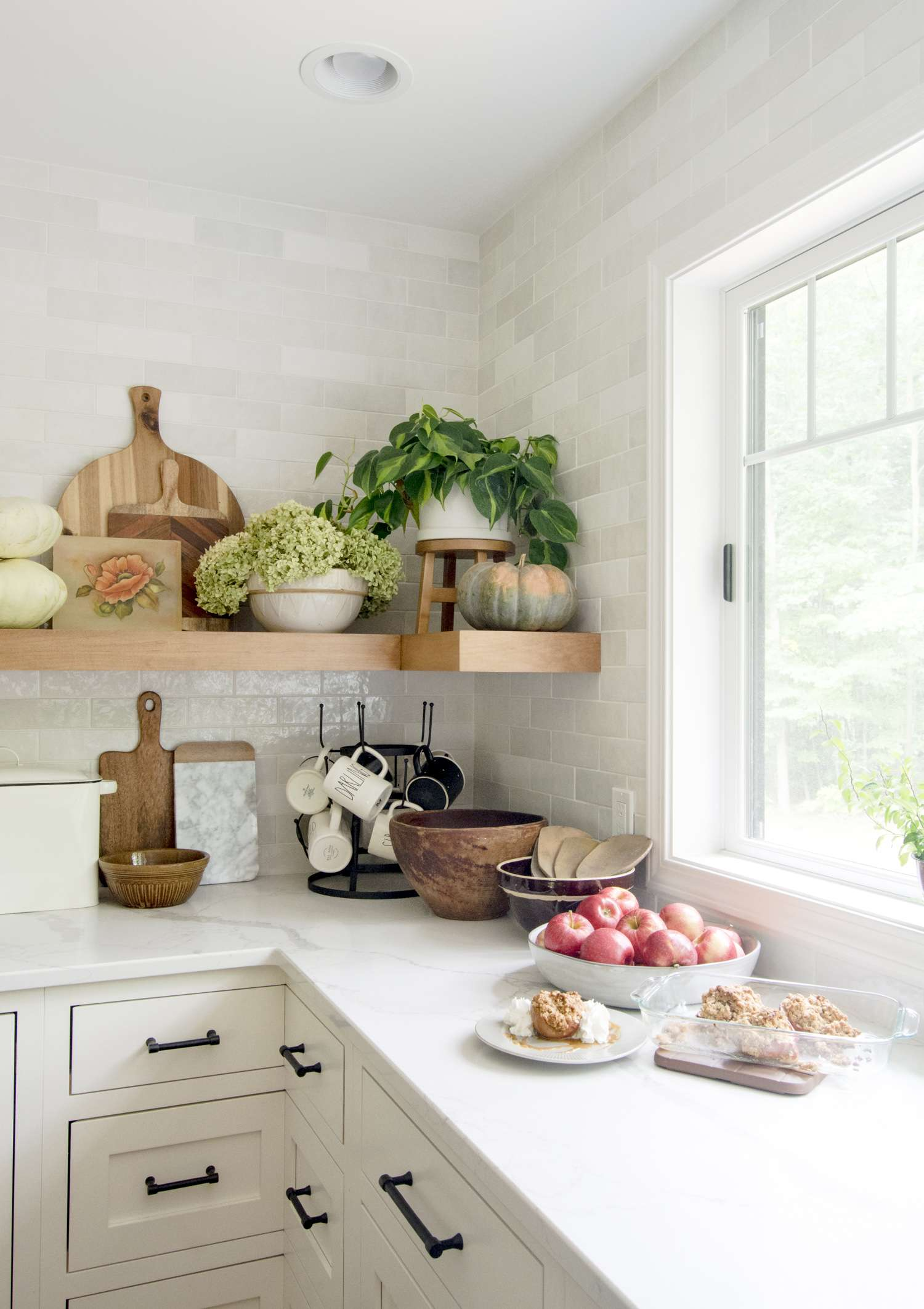 Fall decor in a modern farmhouse kitchen