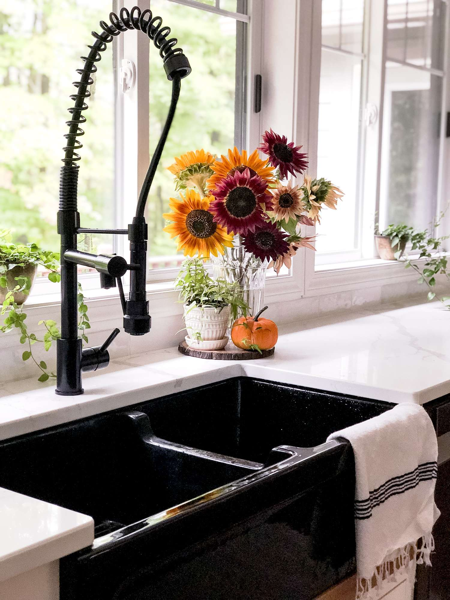 Sunflowers in a farmhouse kitchen
