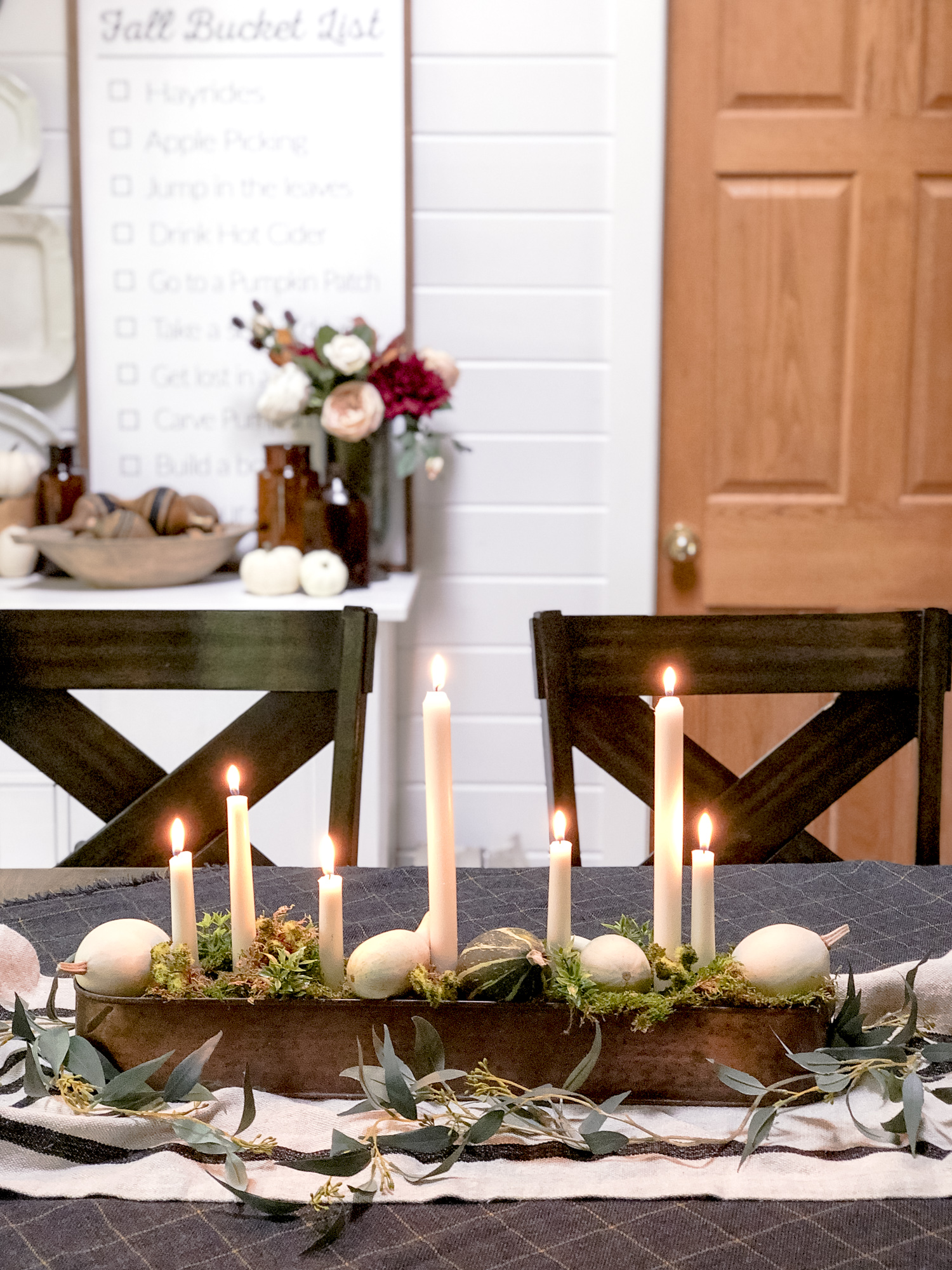 DIY candelabra decorated for fall.