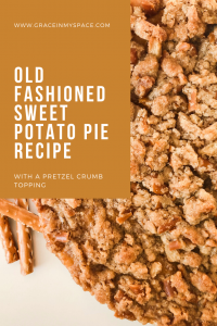 This old fashioned sweet potato pie recipe is the perfect dessert! With a pretzel crumb topping, its savory sweet combination will be a crowd pleaser!