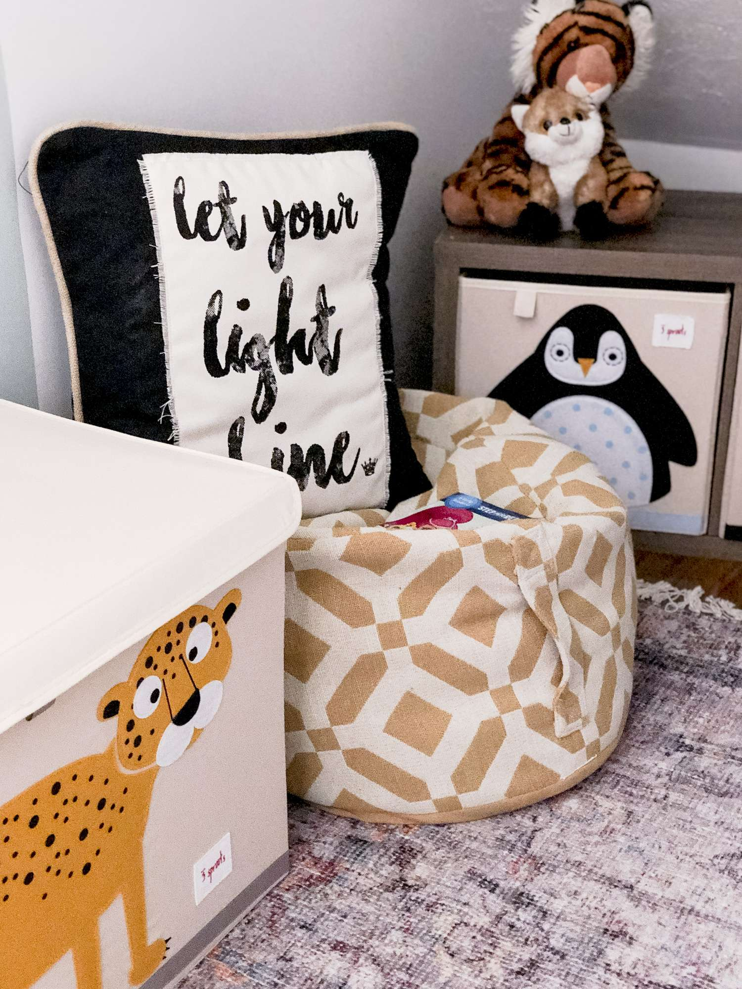 Playroom ideas for comfort and organization.