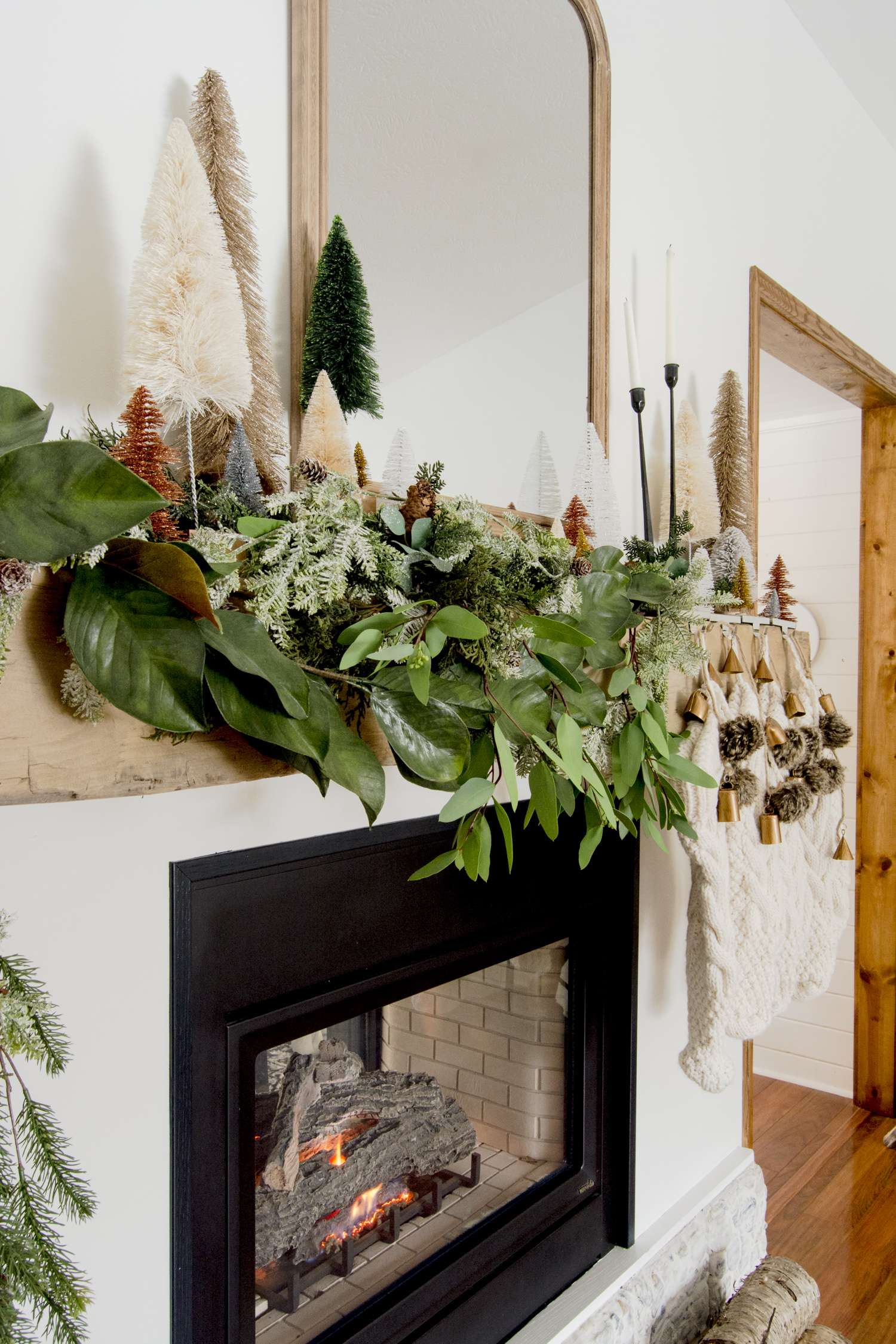 Faux garland for a Christmas mantel.