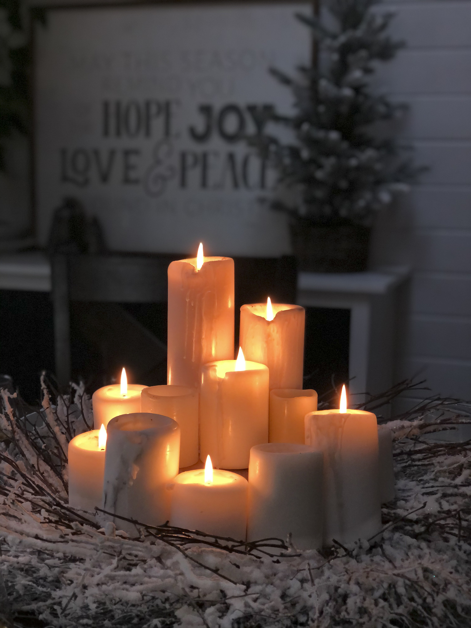 Candles burning for a cozy atmosphere.