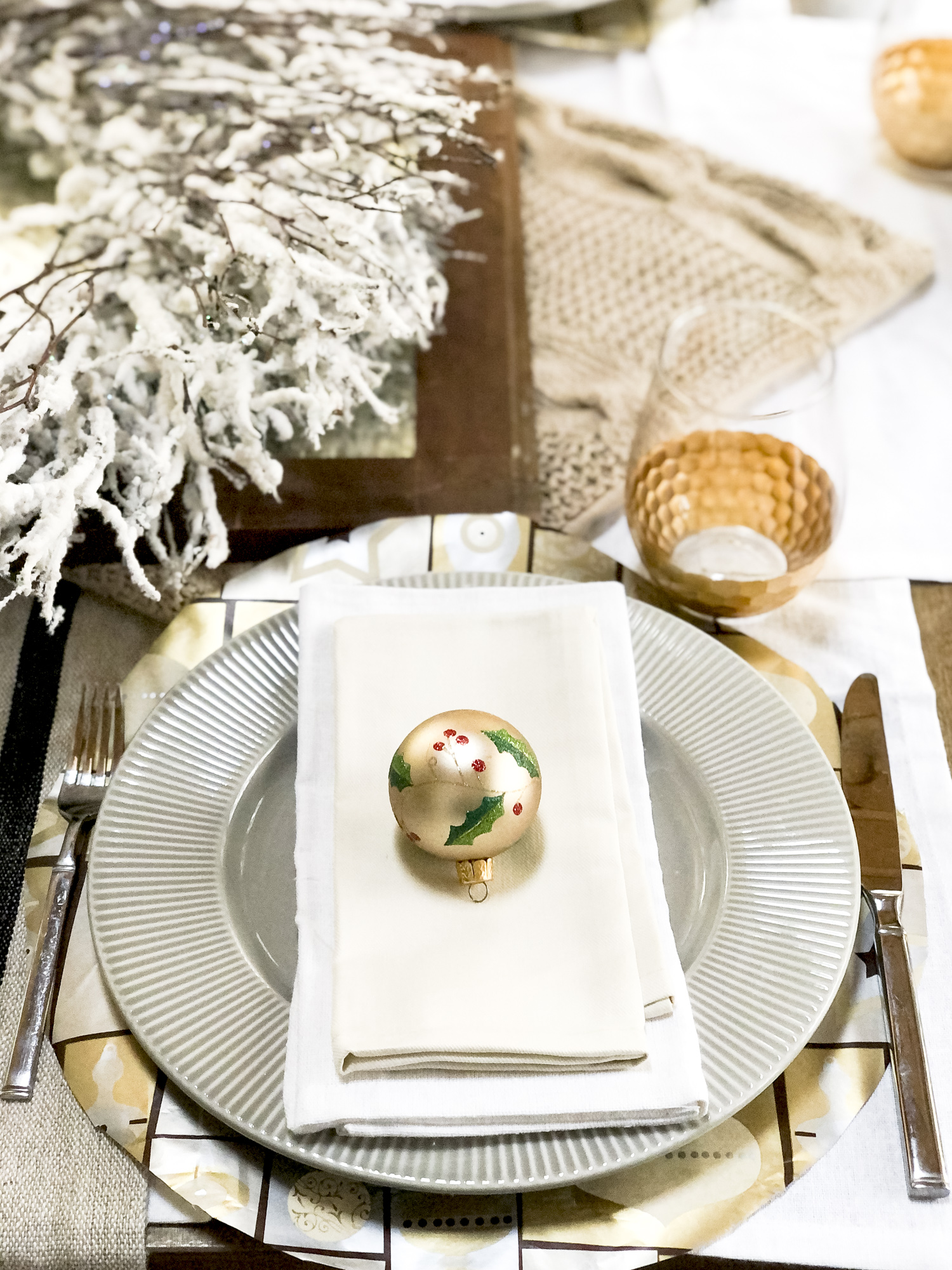 DIY Chargers for a Christmas place setting.
