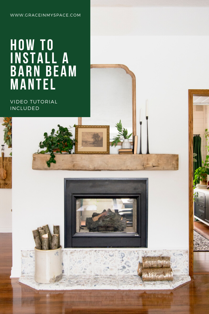 Do you want to add character to your home? Learn how we easily installed a floating barn beam mantel over our gas fireplace!