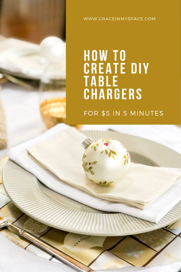 Do you love the look of table chargers but don't want to buy and store extra dishes? Learn how to create these DIY Christmas chargers in 5 minutes.